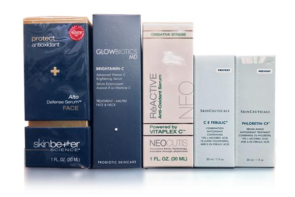 Vitamin C antioxidant products available at Beauty Bar Medispa
